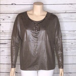 Alberto Makali XL Brown Suede Embellished Blouse